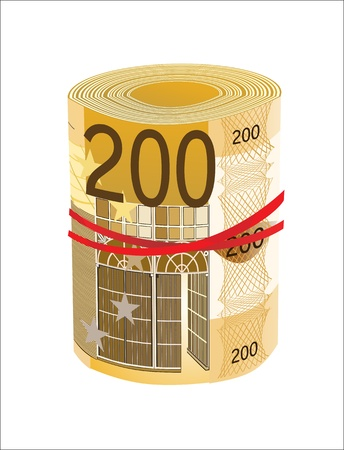 euromoney: 200 Euro rolled up on white background Illustration