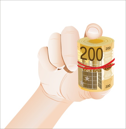 hand holding roll of 200 euro banknotes isolated on white Stock Vector - 19600500