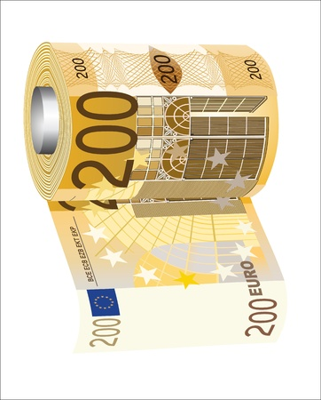 worthless: A toilet paper roll of 200 euro banknotes, symbolizing the careless spending of money