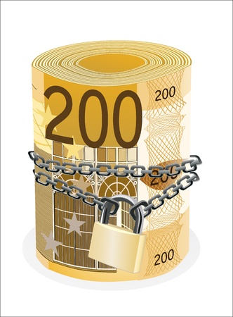 Roll of 200 euro chained and locked isolated on white Vector