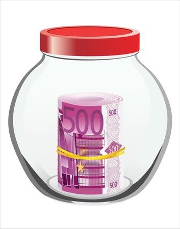avidity: Many euros in a glass jar isolated on white background Illustration