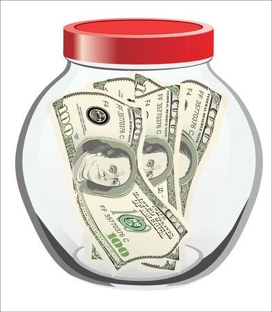 hundred dollar bill: Many dollars in a glass jar isolated on white background Illustration