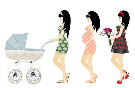 Girl  Pregnant Woman and Newborn baby in wheelchair Vector