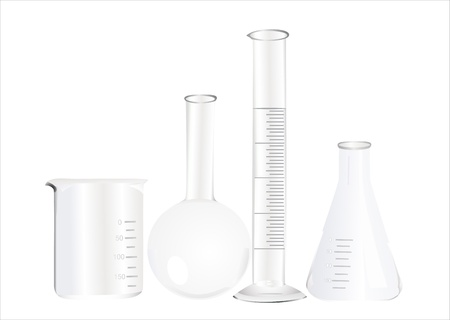 Tubos de ensayo aislado en blanco de vidrio para laboratorio