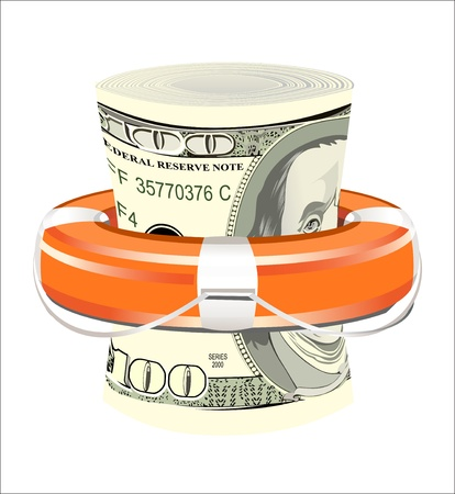 preserver: A life preserver filled with money, symbolizing financial aid