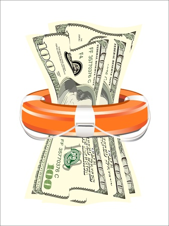 bailout: A life preserver filled with money, symbolizing financial aid