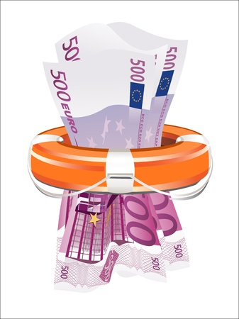 lifebouy: A life preserver filled with money, symbolizing financial aid
