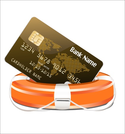financial emergency: Credit Rescue Concept  Credit Card with lifebuoy on a white background