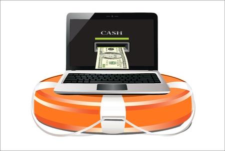 lifebelt: lifebelt with laptop on white background