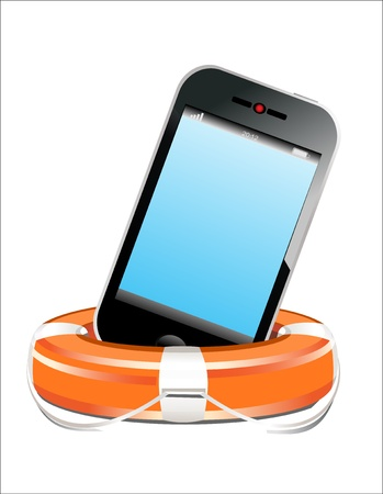 Mobile Phone with lifebuoy on a white background Vector