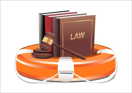 crime prevention: Legal aid  Gavel, book and lifebuoy on white background