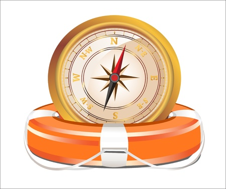 nautical vessel: Red Lifebelt with compass isolated on white background Illustration
