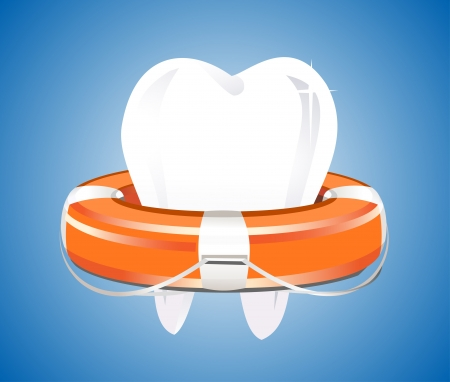 lifejacket: Illustration of tooth with lifebuoy on a blue background Illustration