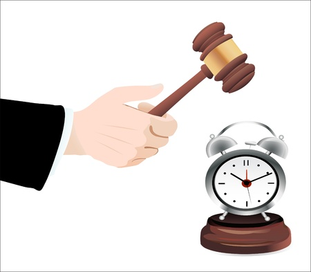 barrister: Gavel in hand and clock isolated on white Illustration