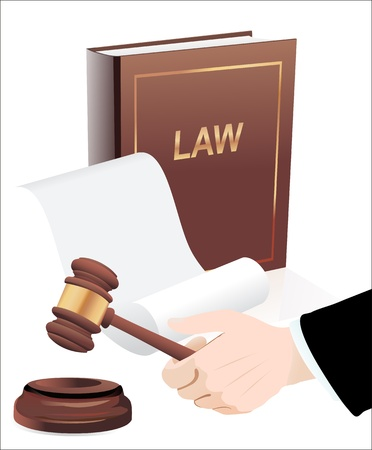 defendant: Gavel in hand and law book  Photo-realistic vector