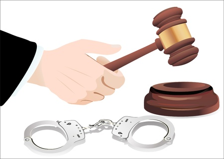 Gavel in hand and handcuffs isolated on white Stock Vector - 19600476