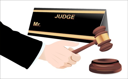 Gavel in hand on white  Vector  Stock Vector - 19600323