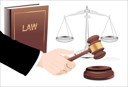 Gavel in hand, scales of justice and law book isolated on white Vector
