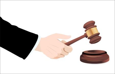 subpoena: Gavel in hand on white  Vector