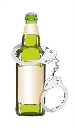 Alcoholism concept, bottle and handcuffs Stock Vector - 19600473