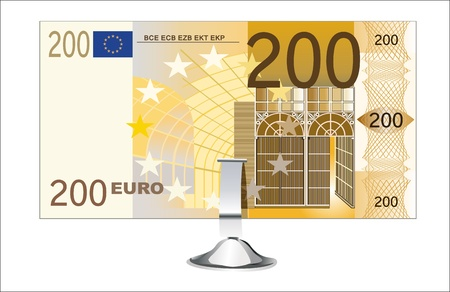 small office: Small office desk stand with 200 euro banknote isolated on white