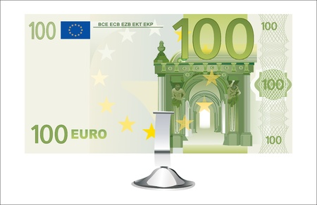 small office: Small office desk stand with 100 euro banknote isolated on white