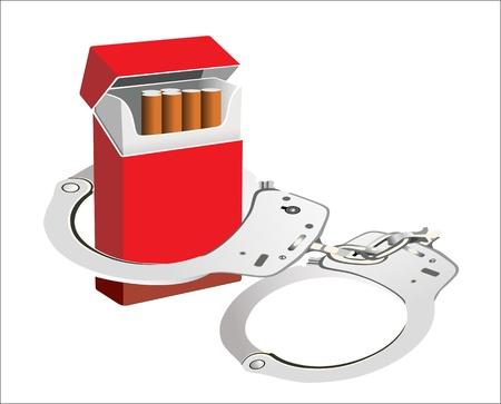 manacles: Cigarrillo aislado en fondo blanco esposas de fumadores la dependencia