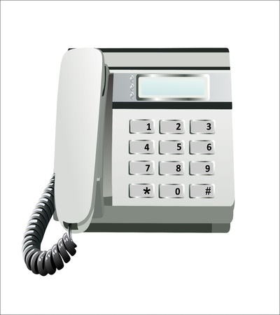 landlines: Gray office telephone isolated on a white background Illustration