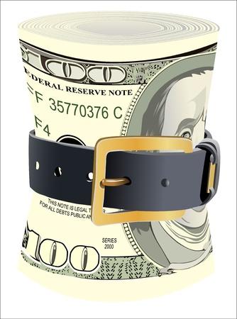 cintur�n de cuero: billetes de d�lar presionados por la correa de cuero sobre un fondo blanco