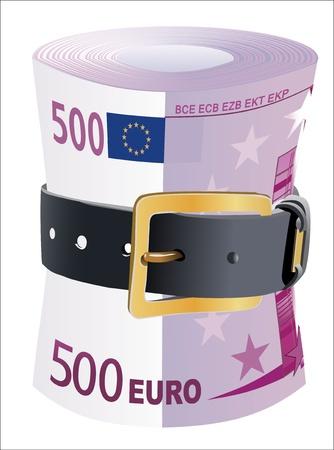 cintur�n de cuero: Billetes de 500 euros exprimidos por la correa de cuero sobre un fondo blanco