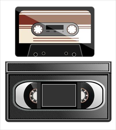 videotape: videotape and cassette on white background