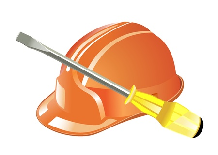 Helmet and tools. 3D Icon isolated on white background Vector