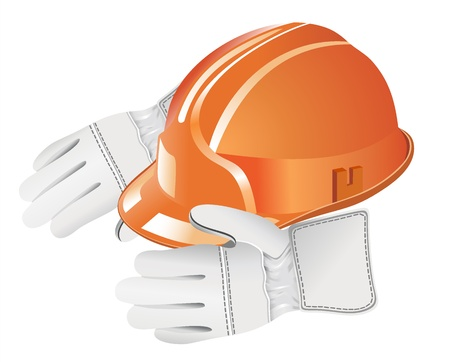 Orange hard hat on the gloves, isolated on white Stock Vector - 19893186