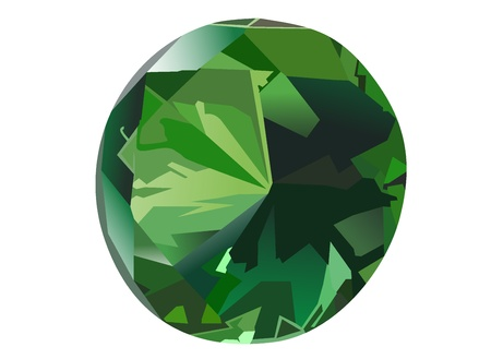 tsavorite: front view emerald isolated on white