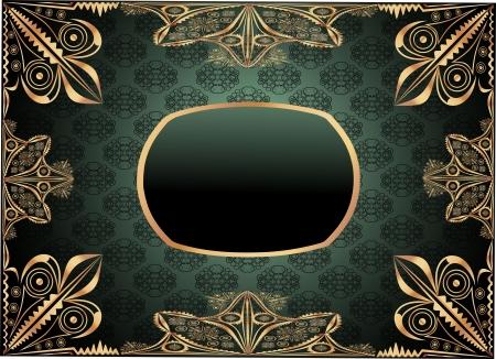 Vintage frame on damask background Stock Vector - 20203790