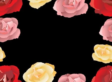 gele rozen: Naadloos patroon met roze, rode en gele rozen Vector illustration