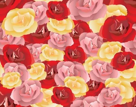gele rozen: Naadloos patroon met roze, rode en gele rozen Vector illustratie Stock Illustratie