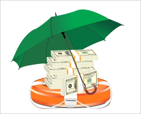 A life preserver filled with money and an umbrella, symbolizing financial aid Vector