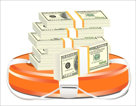 A life preserver filled with money, symbolizing financial aid Vector