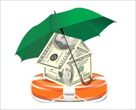 Un gilet de sauvetage rempli avec de l'argent et un parapluie, symbole de l'aide financière