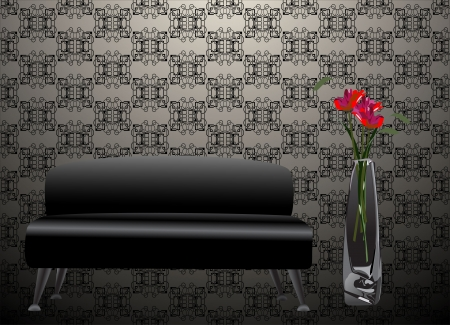 Black sofa and flower in old Styled Inter Stock Vector - 21172847