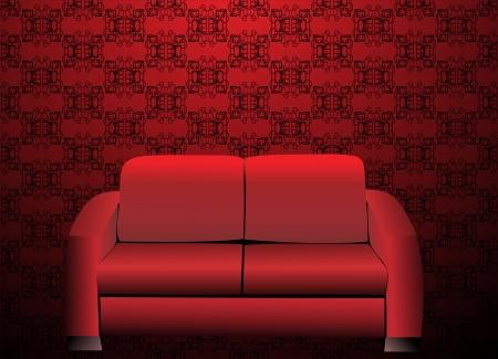 sofa viejo: Sof� rojo en el viejo interior labrado Vectores