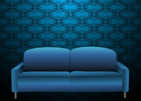 sofa viejo: Sof� azul en el antiguo interior labrado Vectores