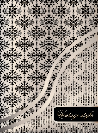 Vintage seamless wallpaper with a ribbon and frame Stock Vector - 21237233