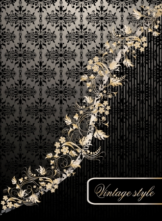 Vintage seamless wallpaper with a ribbon and frame Stock Vector - 21237235