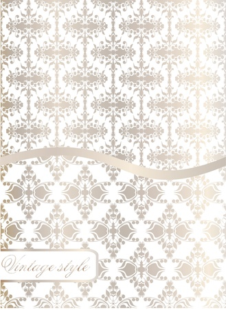 Vintage seamless wallpaper with a ribbon and frame in pastel colors  Vector