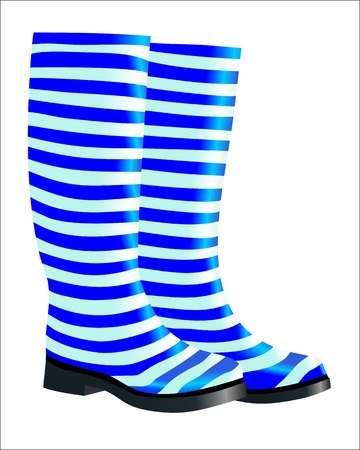 rubber boots: High blue rubber boots isolated on white background Illustration
