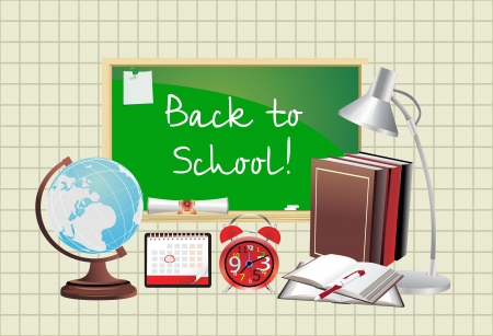 Back to school  Green desk with school supplies   Vector