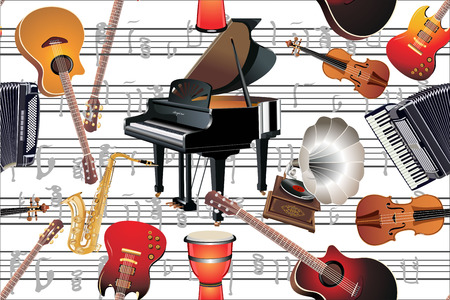 Different music instruments seamless pattern Vector