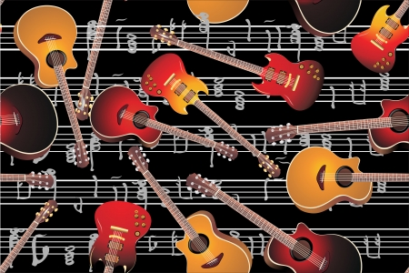 Acoustic guitar and electric guitar, seamless pattern Vector
